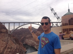 The Pretend Triathlete holds up the Hoover Dam Bypass bridge