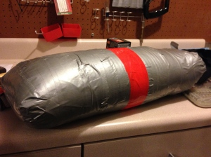 Sandbag wrapped in duct tape